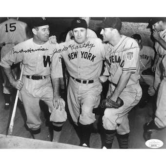 Bucky Harris/Joe McCarthy/Lou Boudreau Autographed 8x10 B&W Photo JSA QQ09761 (Reed Buy)