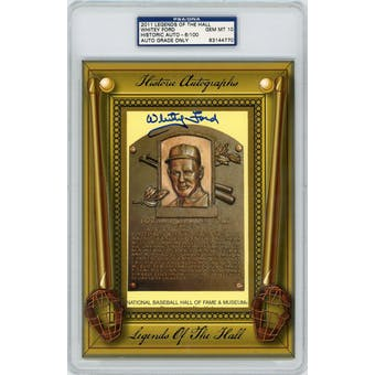 2011 Historic Autographs Whitey Ford HOF Plaque #/100 PSA/DNA AUTH Auto 10 *4770 (Reed Buy)