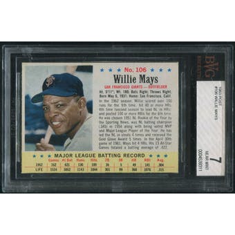 1963 Post Baseball #106 Willie Mays BVG 7 (NM)