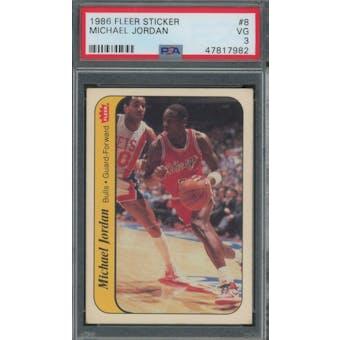 1986/87 Fleer Sticker #8 Michael Jordan PSA 3 *7982 (Reed Buy)
