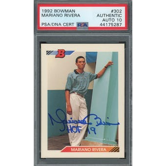 1992 Bowman #302 Mariano Rivera RC PSA/DNA Auto 10 (HOF 19) *5287 (Reed Buy)