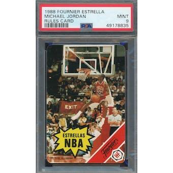 1988 Fournier Estrellas Michael Jordan Rules Card PSA 9 *8835 (Reed Buy)