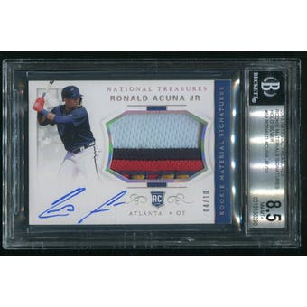 2018 Panini National Treasures #59 Ronald Acuna Jr. Holo Silver Rookie Patch Auto #04/10 BGS 8.5 (NM-MT+)