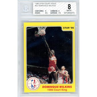 1986 Star Court Kings #32 Dominique Wilkins BGS 8 9/8.5/9/7.5 *0373 (Reed Buy)