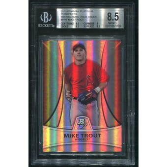 2010 Bowman Platinum Prospects #PP5 Mike Trout  Refractor Thick Stock Rookie #901/999 BGS 8.5 (NM-MT+)