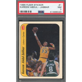 1986/87 Fleer Sticker #1 Kareem Abdul-Jabbar PSA 7 *6020 (Reed Buy)