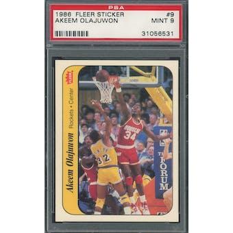 1986/87 Fleer Sticker #9 Hakeem Olajuwon PSA 9 *6531 (Reed Buy)