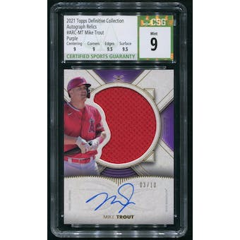 2021 Topps Definitive Collection #ARCMT Mike Trout Purple Jersey Auto #03/10 CSG 9 (MINT)