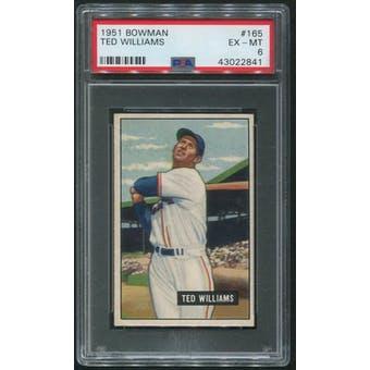 1951 Bowman Baseball #165 Ted Williams PSA 6 (EX-MT)