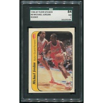 1986/87 Fleer Basketball #8 Michael Jordan Rookie Sticker SGC 7 (NM 84)