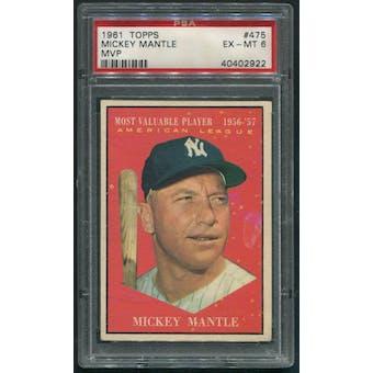 1961 Topps Baseball #475 Mickey Mantle MVP PSA 6 (EX-MT)