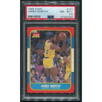 1986/87 Fleer Basketball #131 James Worthy Rookie PSA 8.5 (NM-MT+)