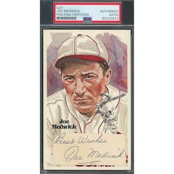 Joe Medwick Cut Autograph w/ Insc. Perez-Steele HOF Postcard PSA/DNA Authentic *5812 (Reed Buy)