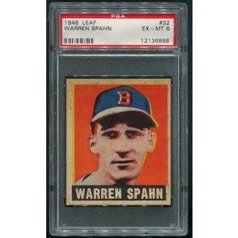 1948 Leaf Baseball #32 Warren Spahn PSA 6 (EX-MT)