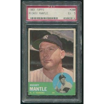 1963 Topps Baseball #200 Mickey Mantle PSA 5 (EX)