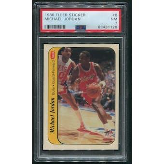 1986/87 Fleer Basketball #8 Michael Jordan Sticker Rookie PSA 7 (NM)