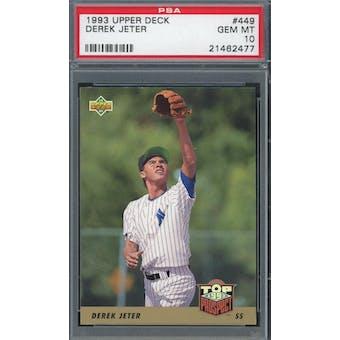 1993 Upper Deck Baseball #449 Derek Jeter RC PSA 10 *2477 (Reed Buy)