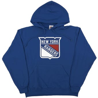 New York Rangers Majestic Blue Felt Tek Patch Dual Blend Fleece Hoodie