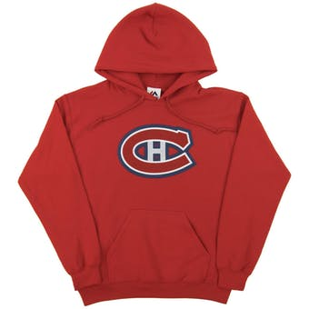 Montreal Canadiens Majestic Red Felt Tek Patch Dual Blend Fleece Hoodie