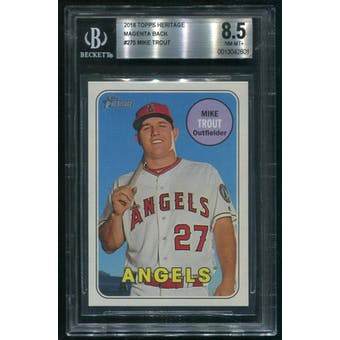 2018 Topps Heritage #275 Mike Trout Magenta Back /10 BGS 8.5 (NM-MT+)