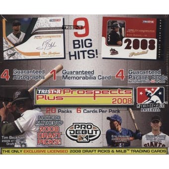 2008 TriStar Prospects Plus Baseball Hobby Box