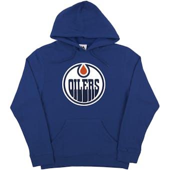 Edmonton Oilers Majestic Royal Felt Tek Patch Dual Blend Fleece Hoodie