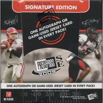 2009 Press Pass Signature Edition Football Hobby Box