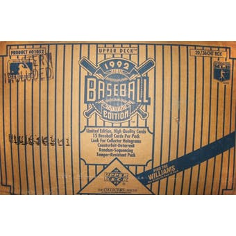 1992 Upper Deck Low # Baseball Hobby 20-Box Case