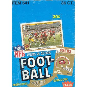 1982 Fleer in Action Football Wax Box (first Fleer Joe Montana!)
