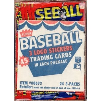 1983 Fleer Baseball Wax Rack Box