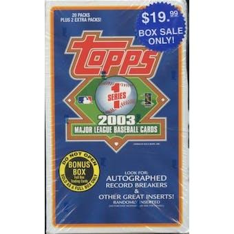 2003 Topps Series 1 Baseball Blaster 20 Pack Box