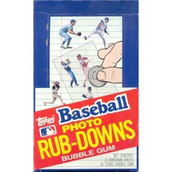 1984 Topps Baseball Photo Rub-Downs Box