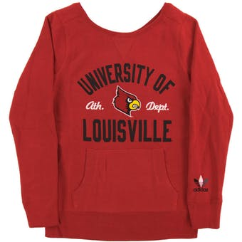 Louisville Cardinals Adidas Red Crew Sweatshirt (Womens Large)