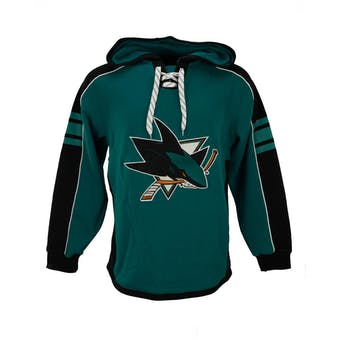 San Jose Sharks Reebok Teal Lace Up Fleece Jersey Hood (Adult S)