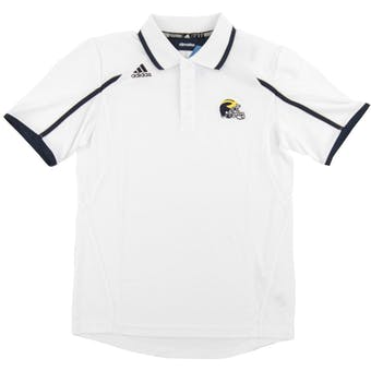 Michigan Wolverines Adidas White Climate Control Performance Sideline Polo (Adult L)