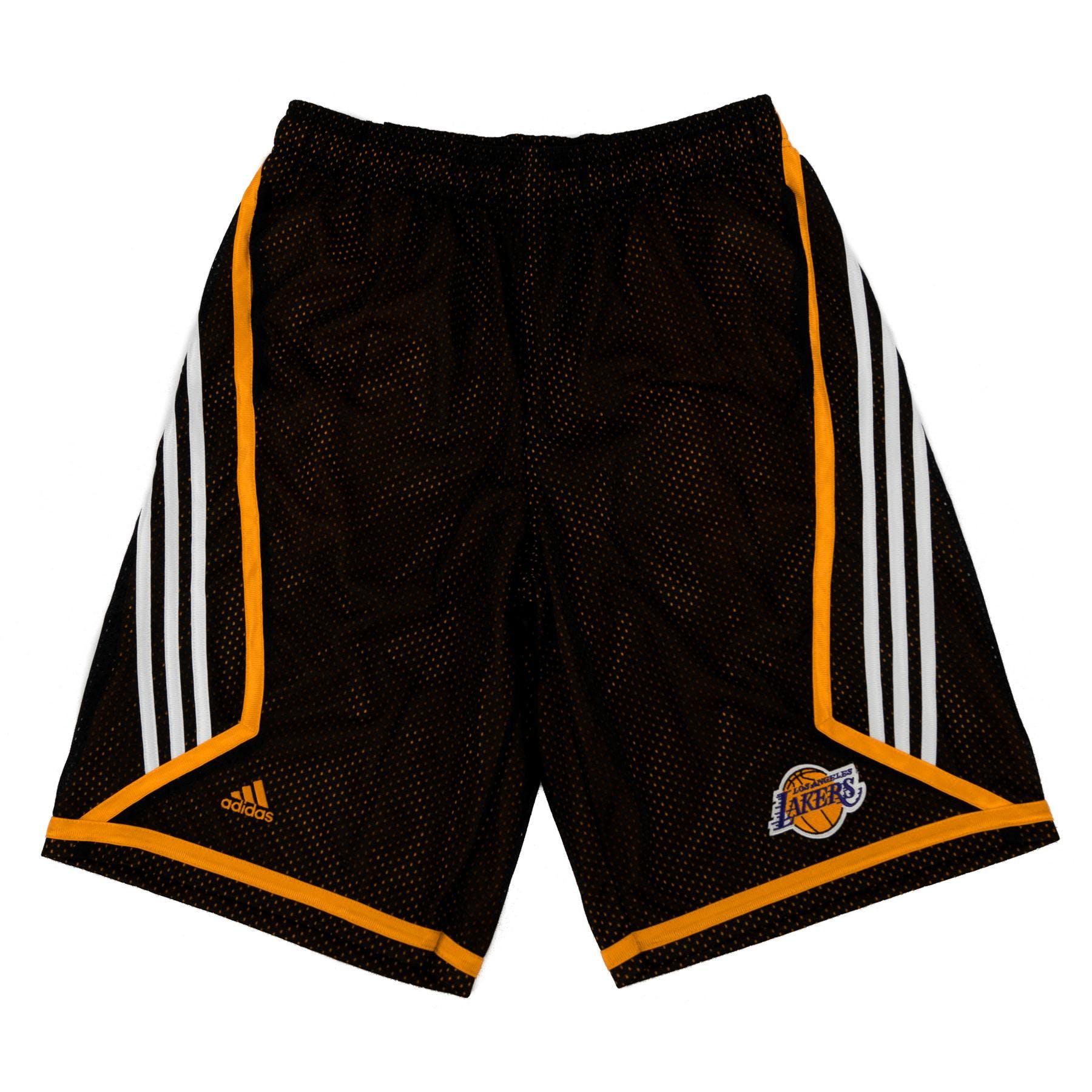Los Angeles Lakers Adidas Black 3 Stripe Basketball Shorts  898532eea078
