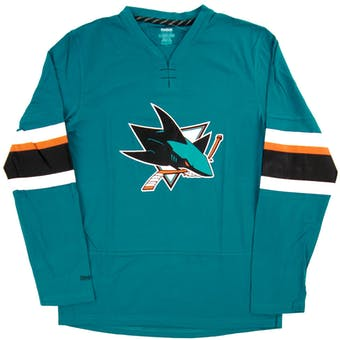 San Jose Sharks Reebok Teal Faceoff Jersey Long Sleeve Tee Shirt (Adult X-Large)