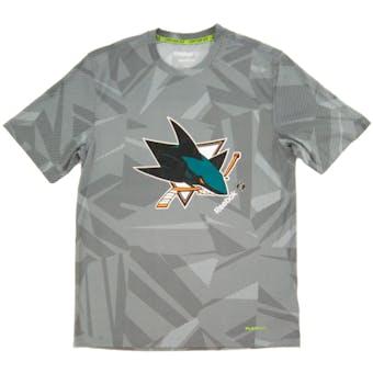 San Jose Sharks Reebok Gray TNT Center Ice Performance Tee Shirt (Adult XX-Large)