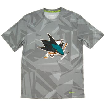 San Jose Sharks Reebok Gray TNT Center Ice Performance Tee Shirt (Adult XX-Large)