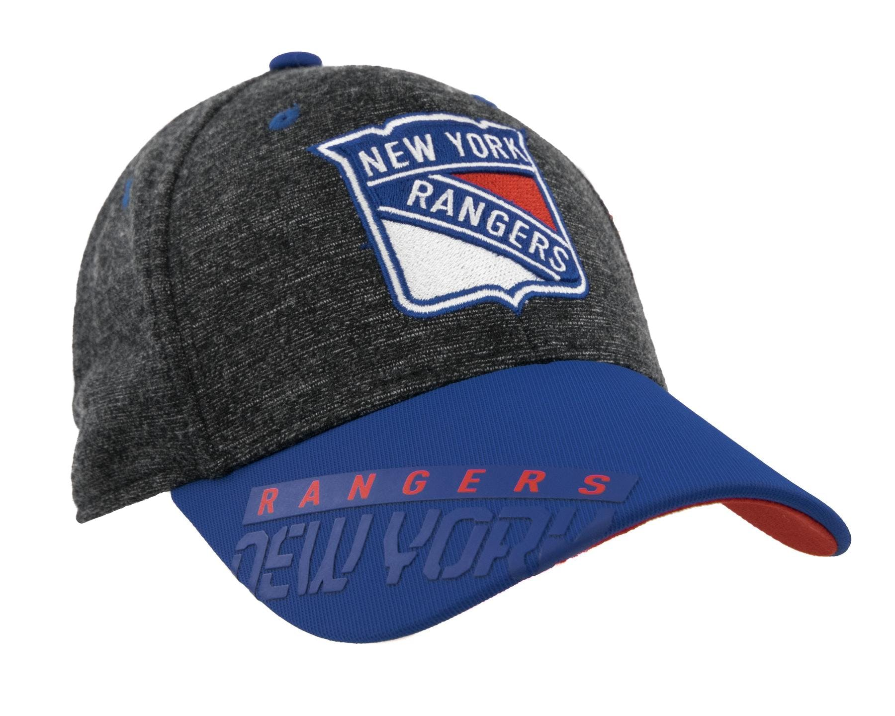 1e4aec48153 New York Rangers Reebok Gray Center Ice Playoff Structured Flex Fit ...