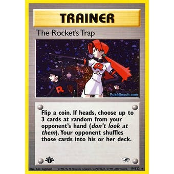 Pokemon Gym Heroes 1st Edition Single The Rocket's Trap Trainer 19/132