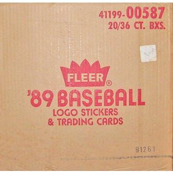 1989 Fleer Baseball Wax 20-Box Case