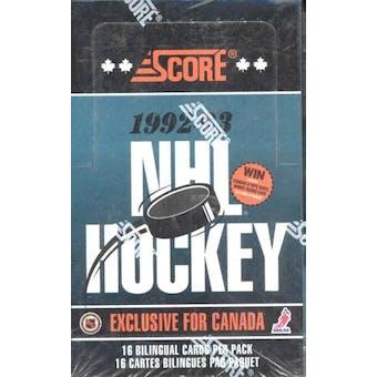 1992/93 Score Bilingual Hockey Hobby Box