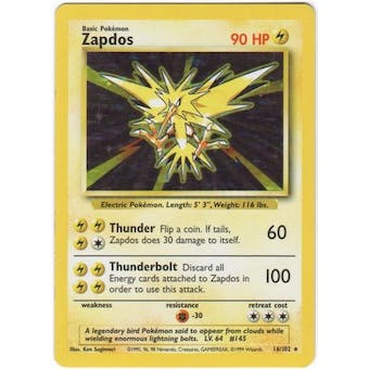 Pokemon Base Set 1 Single Zapdos 16/102 - SLIGHT PLAY
