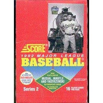1992 Score Series 2 Baseball Wax Box