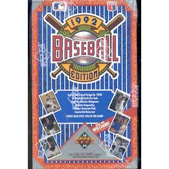 1992 Upper Deck Low # Baseball Hobby Box