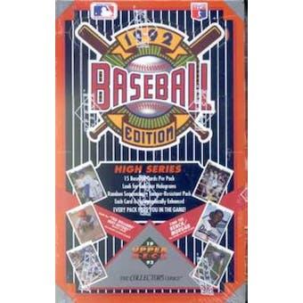 1992 Upper Deck Hi # Baseball Hobby Box