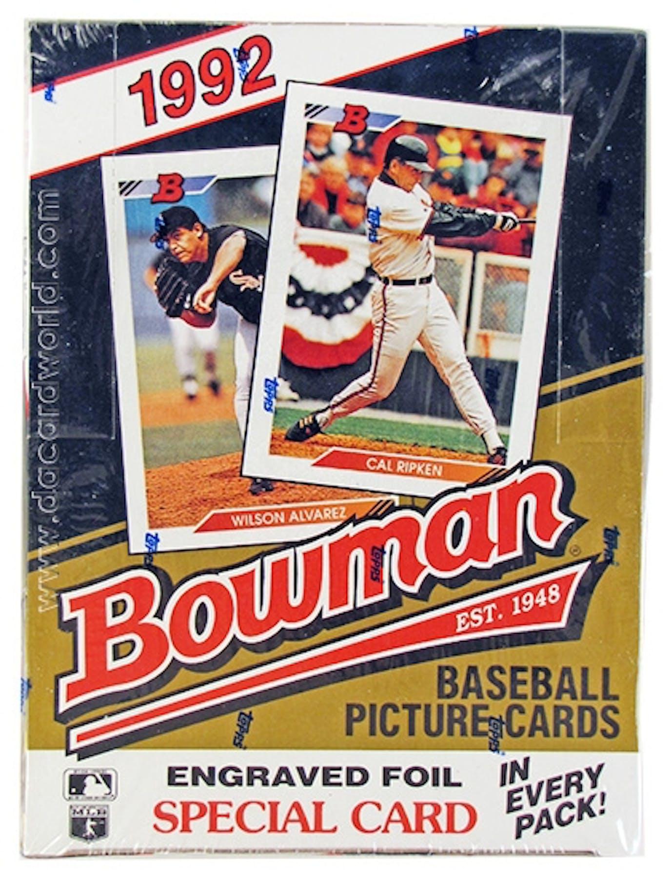 1992 Bowman Baseball Hobby Wax Box Da Card World