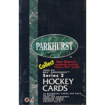 1992/93 Parkhurst Series 2 Hockey Hobby Box