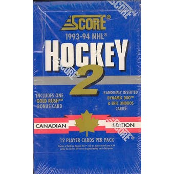 1993/94 Score Canadian Series 2 Hockey Hobby Box